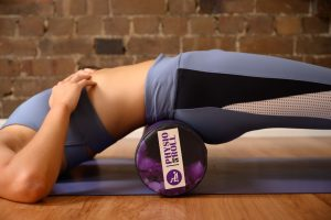 hip flexor stretch with a roller, start position