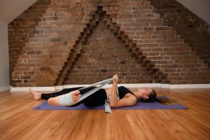 adductor stretch with a band