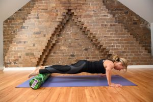 push up on a roller, low position